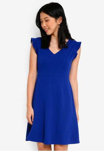 ZALORA BASICS blue V Neck Fit & Flare Dress C2AD9AA392AAA0GS_1