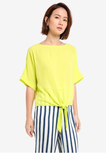 Dorothy Perkins green Lime Tie Front Top AEE24AA736E795GS_1