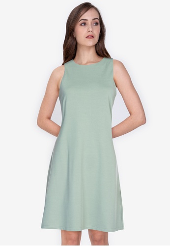 ZALORA WORK green Cut-Out Shift Dress A29E6AA54CABD4GS_1