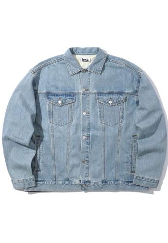izzue blue Embossed denim jacket BEC46AA059C8DEGS_1