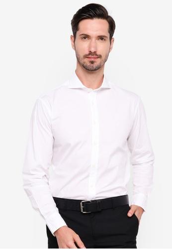 Sacoor Brothers white Slim fit cotton elastane comfort poplin shirt in garment dye F5E88AA4C9136BGS_1