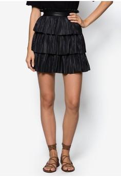 Premium PU Layered Pleated Skirt