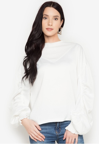 Chloe Edit white Top With Gathered Sleeves CH672AA0JS50PH_1