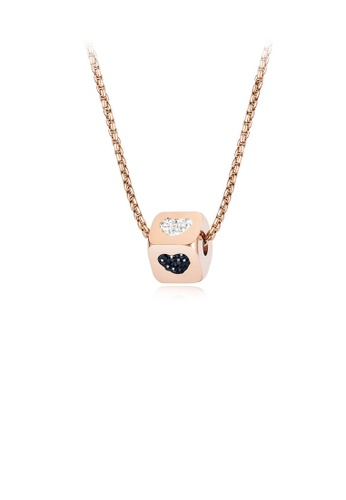 Glamorousky white Simple and Romantic Plated Rose Gold Heart-shaped Geometric Square 316L Stainless Steel Pendant with Cubic Zirconia and Necklace AD81FAC5F57460GS_1