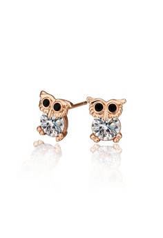 Eula Rose Gold Plated Owl Earrings