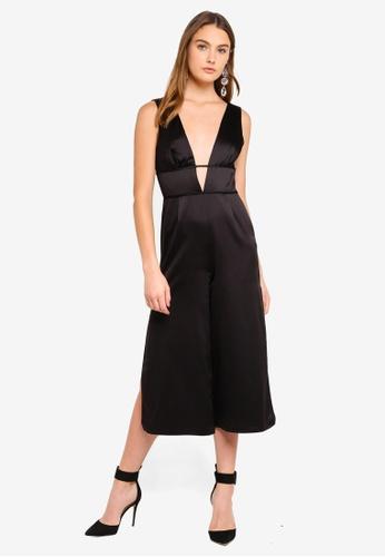 0949412cf86 Buy Miss Selfridge Black Plunge Cage Jumpsuit Online on ZALORA Singapore