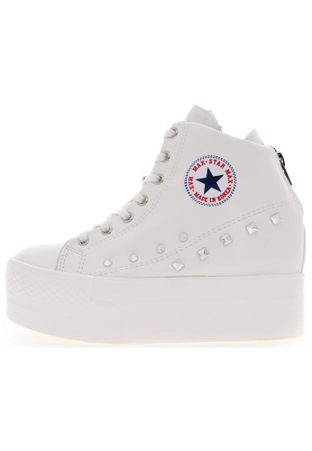 Maxstar Maxstar C2H Synthetic Leather Taller Insole Studed White Platform Sneakers US Women Size MA168SH55USQHK_1