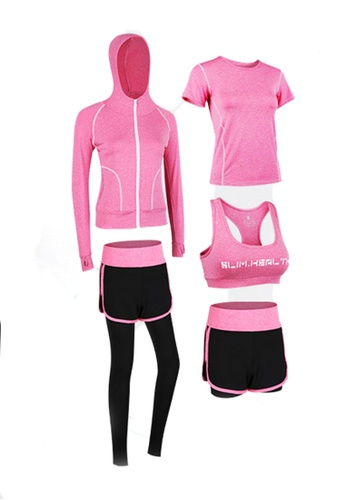 Sunnydaysweety red Sports Bra, Top, Tights, Shorts and Jacket Set A081027RD EF845AA626C1CAGS_1