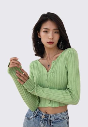 RFLCTVE green Texture Stripe Long Sleeve Cardi Top 9997BAA5B8808FGS_1