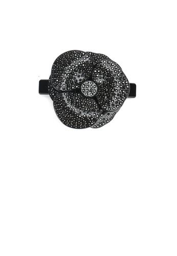 Glamorousky black Fashion and Elegant Black Flower Large Hair Slide with Cubic Zirconia 2B98CACEB1CC0DGS_1