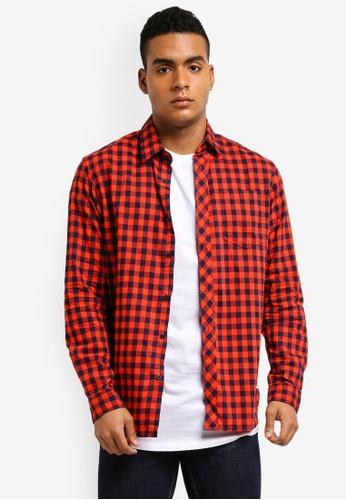 Jack & Jones 紅色 休閒格紋長袖襯衫 2E608AA46E0734GS_1