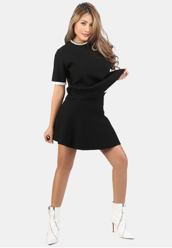 London Rag black Set of Casual Knit Skirt and Top With Contrast Collar and Sleeve B90BCAA2C95D85GS_1