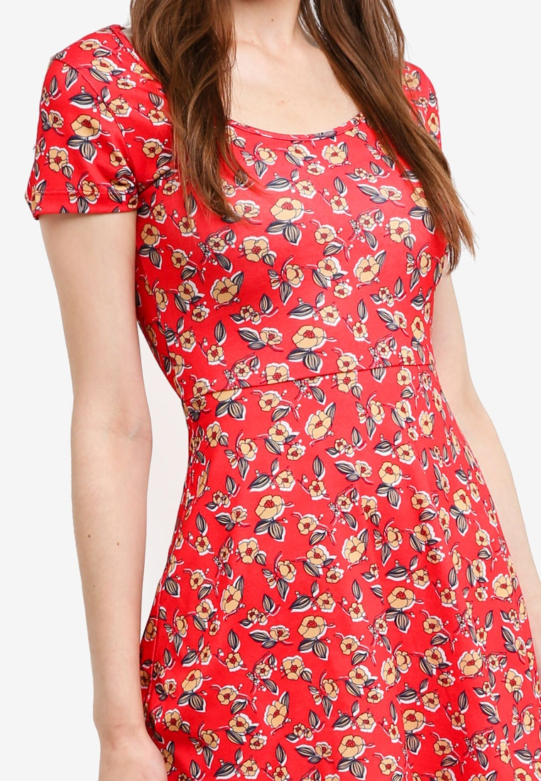 Jersey Neck Dress Floral Something Red Skater Scoop Borrowed Retro 116wqAr
