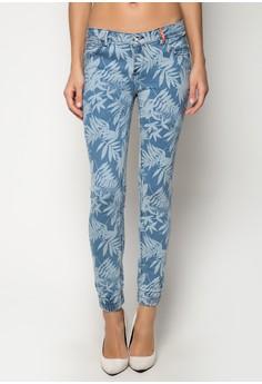 Ankzie Low Rise Fern Printed Cuffed Jeans