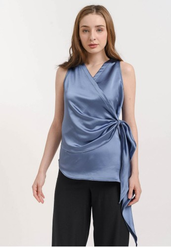 Bevenou blue Bevenou June Satin V-Neck Top 3F861AAB44ABB6GS_1