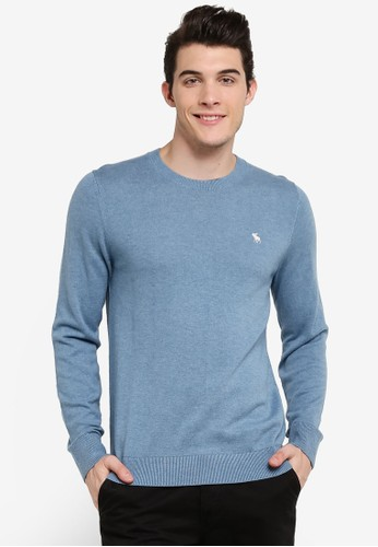 Abercrombie & Fitch blue Crew Neck Knitwear AB423AA0RCRTMY_1