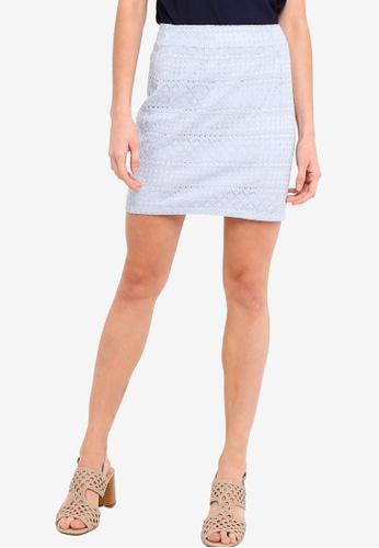 Something Borrowed 藍色 高腰 蕾絲 Skirt E386FAA49FBA83GS_1