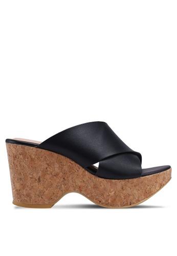 Nose 黑色 交叉繞帶楔型涼鞋 E31BASHF2441CCGS_1