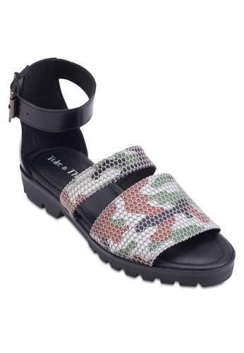 Andre 網眼印花包跟繞踝涼鞋, 女鞋esprit 台北, 鞋