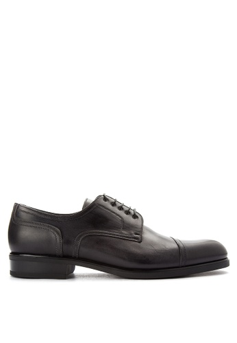 A. Testoni black Men's Casual Dress Shoes Cap Toe AT299SH0K4C2PH_1