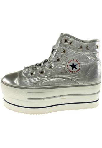 Maxstar 銀色 新款韩国鞋CN9-020-TC時尚合成物質布混合女銀色 US Women Size MA345SH78HFPTW_1