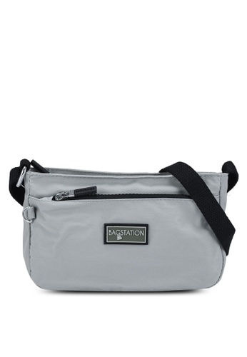 Bagstationz grey Contrast Zip Nylon Mini Sling Bag 2902AAC79D7CE5GS_1