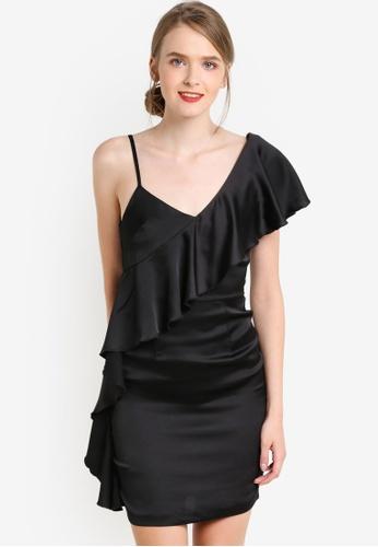 Miss Selfridge black Black Asymmetric Ruffle Dress MI665AA24CEXMY_1