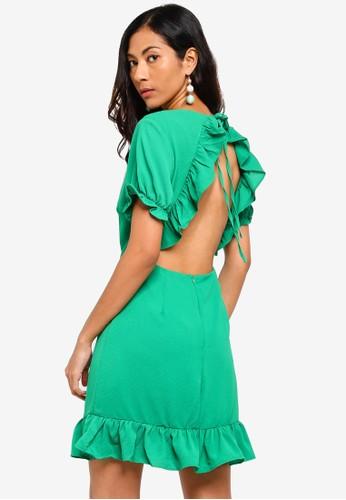 Glamorous green Ruffle Trim Mini Dress 15425AA5B59864GS_1
