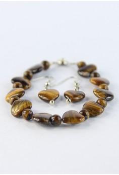Heart Shaped Tiger's Eye Bracelet With Earrings