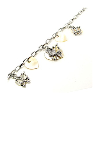 Glamorousky silver Elegant Butterfly Bracelet with Silver Austrian Element Crystal and Shell Charms 95E1BAC342A590GS_1