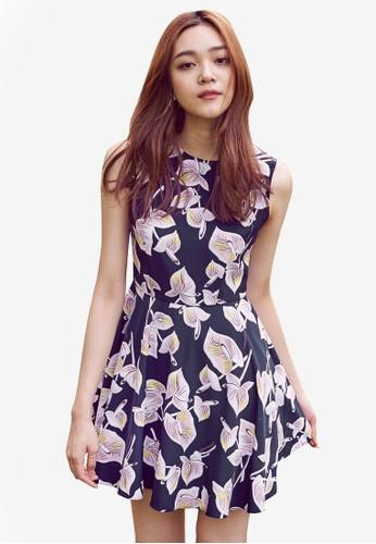Liesprit home 台灣ly 印花無袖傘擺洋裝, 服飾, 洋裝