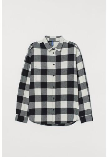 H&M black Cotton flannel shirt 0FB17AA7C7687BGS_1