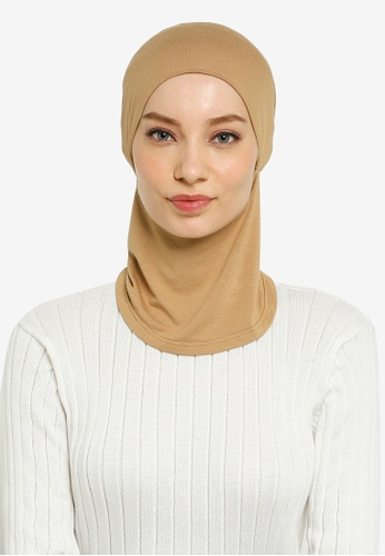 Hijabii brown Cady Inner Neck Tie in Brown 8CAFBAABC26C47GS_1