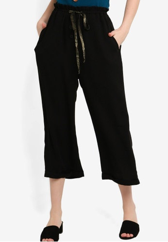 ZALORA black Ruffled Waist Straight Pants 63789AA48D549AGS_1