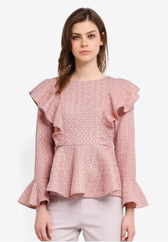 Zalia pink Lace Frill Peplum Top 0BFACAA797202CGS_1