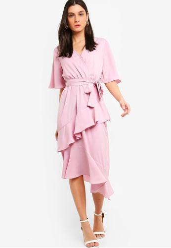 ZALORA pink Flutter Sleeves Wrap Ruffles Dress C16A9AAC2EC235GS_1