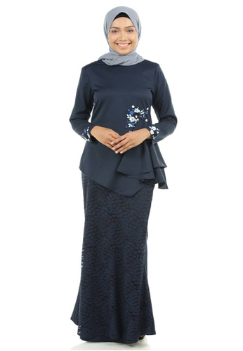 Dinara Kurung with Drapes from Ashura in Blue and Navy