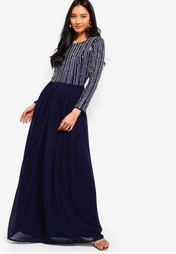 bcd6bd65f2b Shop Lace   Beads Jovi Long Sleeve Embellished Maxi Dress Online on ZALORA  Philippines