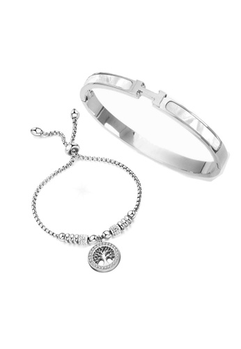 CELOVIS silver CELOVIS - Caterina Bangle Paired with Eden Bracelet Jewellery Set in Silver 2E052AC18B26E9GS_1