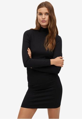 Mango black Fitted Turtle Neck Dress 3DBF0AA42090DFGS_1
