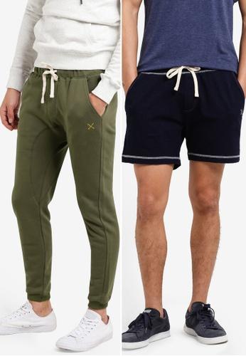 JAXON green and navy 2 Pack Logo Slim Fit Joggers & Logo Terry Shorts JA219AA48GETMY_1
