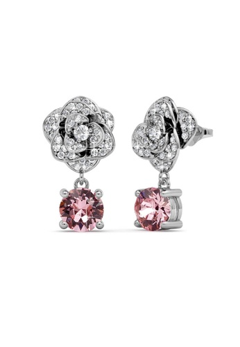 Her Jewellery silver Swarovski® Crystals - Glamour Rose Earrings (18K White Gold Plated) Her Jewellery HE581AC0RDP2MY_1
