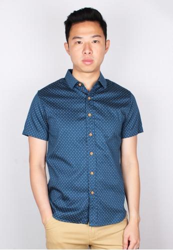 Moley blue 3 Sided Star Motif Design Short Sleeve Shirt 04A28AAAC4E4EDGS_1
