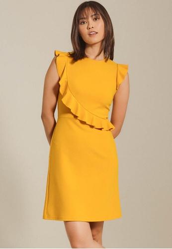 Dressing Paula yellow Ruffled Crepe Dress 723FAAA37E4F0EGS_1