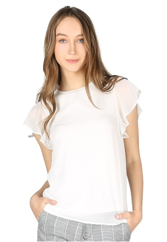 London Rag white Off White Short Flutter Sleeve Casual Top AB6B7AA565C28DGS_1