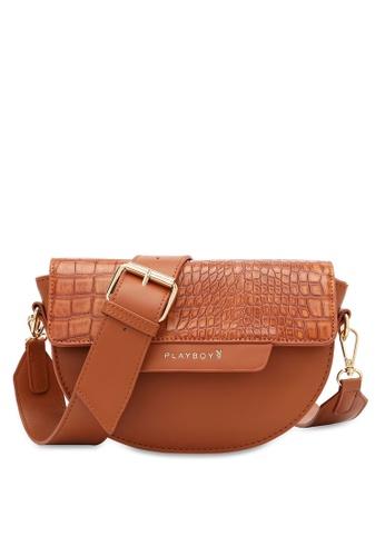 PLAYBOY BUNNY brown Women's Sling Bag / Shoulder Bag / Crossbody Bag FB908ACE8FDB09GS_1