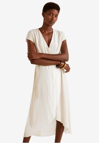 MANGO beige Two-Tone Wrap Dress D242CAAEB8AA69GS_1