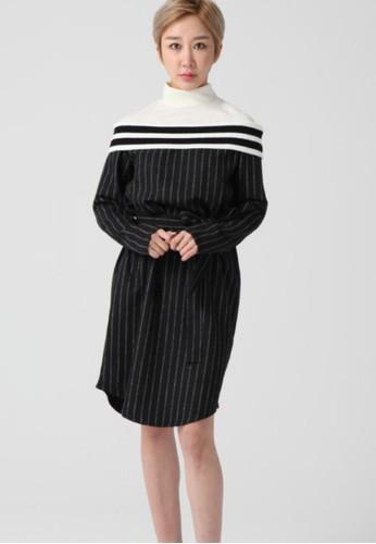 韓流時尚 針織樽領頸部絲帶裙 F4083, 服飾, 及膝esprit女裝洋裝