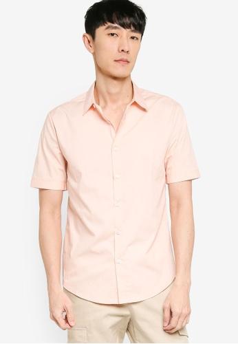 ZALORA BASICS pink Basics Slim Fit Short Sleeve Shirt 3379AAA405D606GS_1