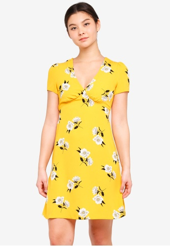 Dorothy Perkins yellow Yellow Floral Tie Dress D49CBAAEA49A44GS_1